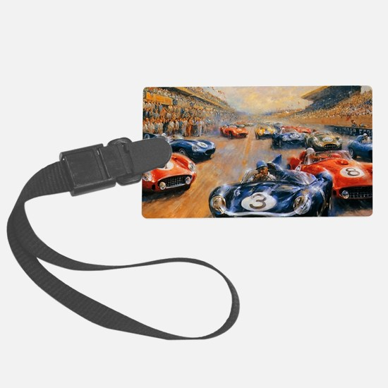 Vintage Car Race Painting Luggage Tag