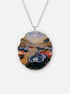Vintage Car Race Painting Necklace
