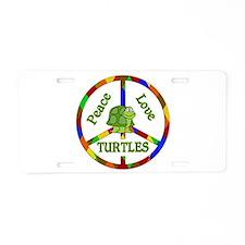 Peace Love Turtles Aluminum License Plate