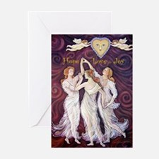 3 Graces with Smiling faces Greeting Cards (Pk of