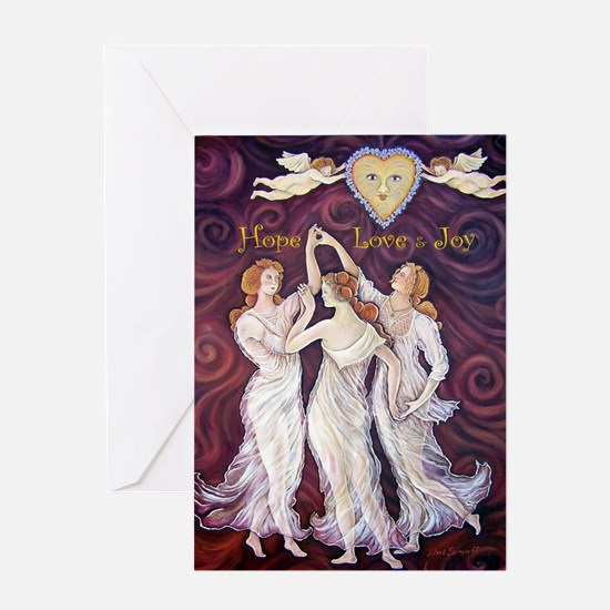 3 Graces with Smiling faces Greeting Card