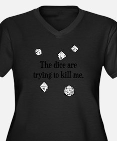 Funny Dice Women's Plus Size V-Neck Dark T-Shirt