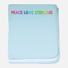 Peace Love Sterling baby blanket