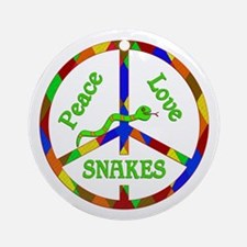 Peace Love Snakes Round Ornament