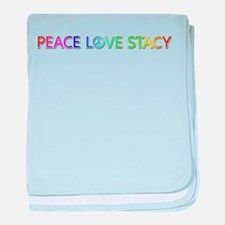 Peace Love Stacy baby blanket