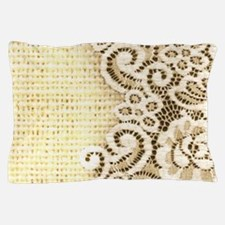 rustic country burlap lace Pillow Case