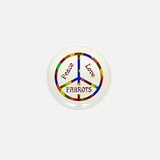 Peace Love Parrots Mini Button