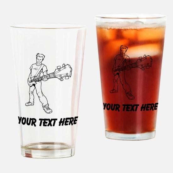 Bass Guitar Player (Custom) Drinking Glass