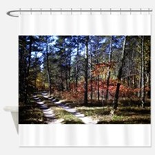 a walk down the forest path in fall Shower Curtain