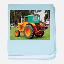 Yellow & green old tractor baby blanket