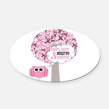 happy & alive breast cancer surviv Oval Car Magnet