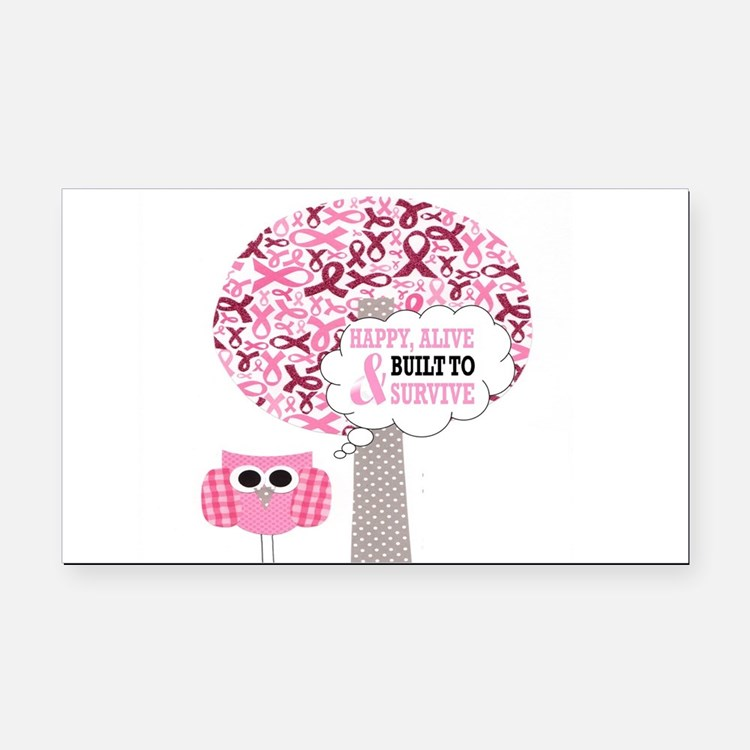 happy & alive breast cancer s Rectangle Car Magnet