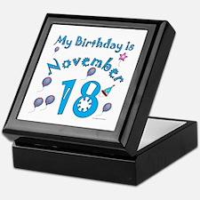 November 18th Birthday Keepsake Box
