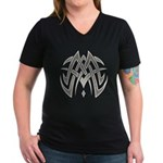 Tribal Woven Blades Women's V-Neck Dark T-Shirt