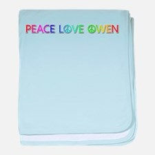 Peace Love Owen baby blanket