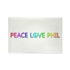 Peace Love Phil Rectangle Magnet