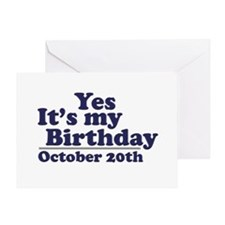 October 20th Birthday Greeting Card