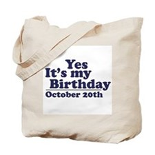 October 20th Birthday Tote Bag