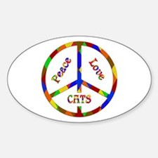 Peace Love Cats Sticker (Oval)