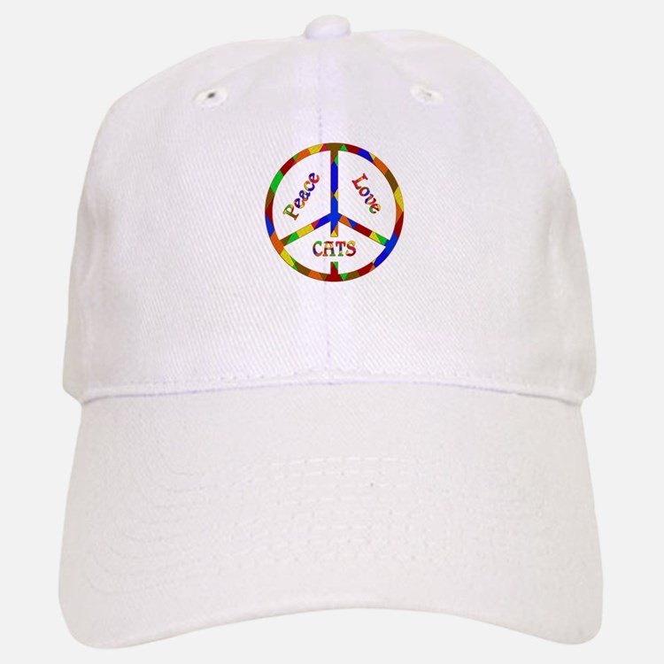 Peace Love Cats Baseball Baseball Cap