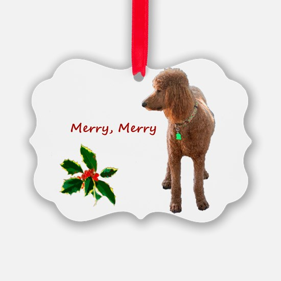 Cute Red poodle Ornament