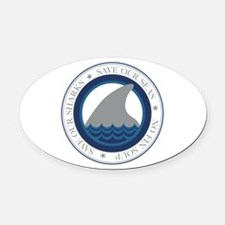 save our sharks Oval Car Magnet