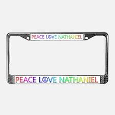 Peace Love Nathaniel License Plate Frame