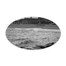 Cape May Beach - black and white Oval Car Magnet