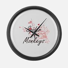 Spider Monkeys Heart Design Large Wall Clock