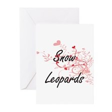 Snow Leopards Heart Design Greeting Cards