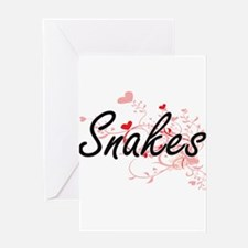 Snakes Heart Design Greeting Cards
