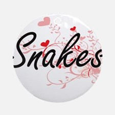 Snakes Heart Design Round Ornament
