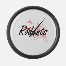 Rodents Heart Design Large Wall Clock