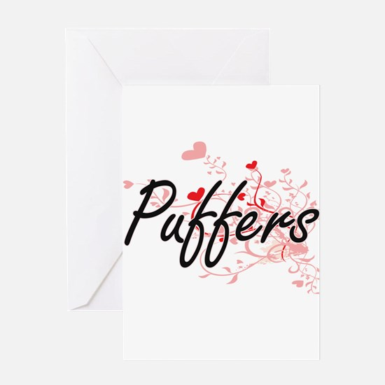 Puffers Heart Design Greeting Cards