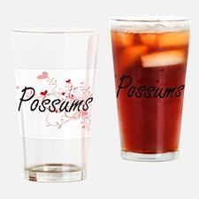 Possums Heart Design Drinking Glass
