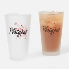 Platypus Heart Design Drinking Glass