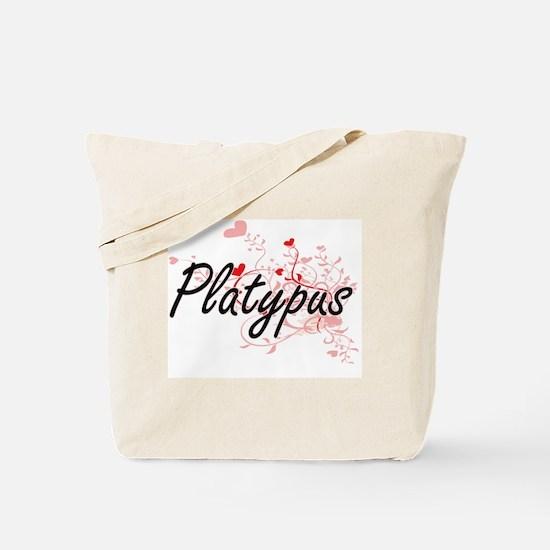Platypus Heart Design Tote Bag