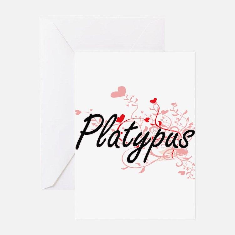 Platypus Heart Design Greeting Cards