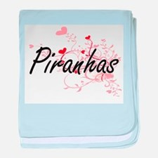 Piranhas Heart Design baby blanket