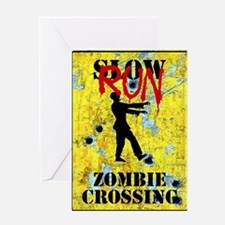 RUN Zombie Crossing Greeting Cards