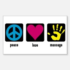 Peace, Love, Massage Rectangle Decal