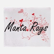 Manta Rays Heart Design Throw Blanket