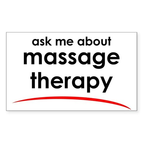 Ask Me About Massage Rectangle Sticker