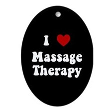 I Love Massage Therapy Oval Ornament