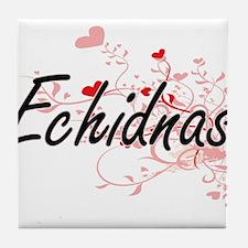 Echidnas Heart Design Tile Coaster