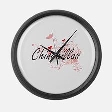 Chinchillas Heart Design Large Wall Clock