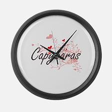 Capybaras Heart Design Large Wall Clock