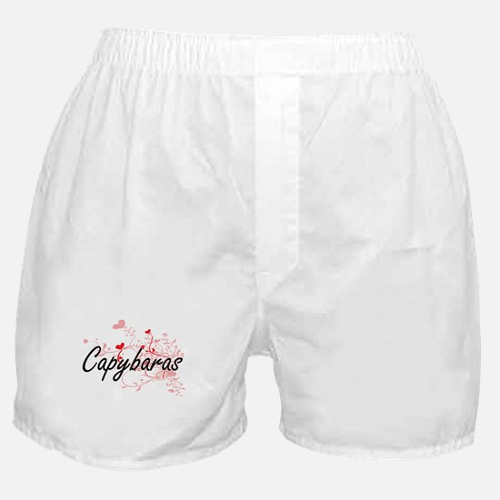 Capybaras Heart Design Boxer Shorts