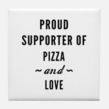 Pizza And Love Tile Coaster