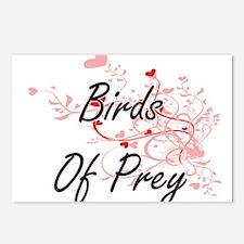 Birds Of Prey Heart Desig Postcards (Package of 8)